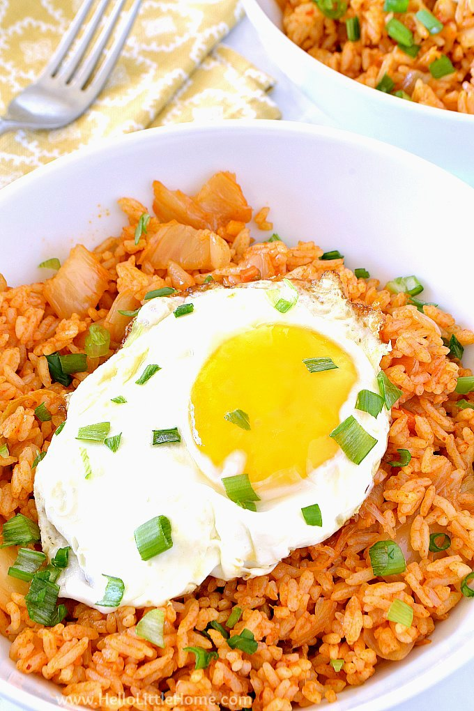 Kimchi Fried Rice served topped with an egg.