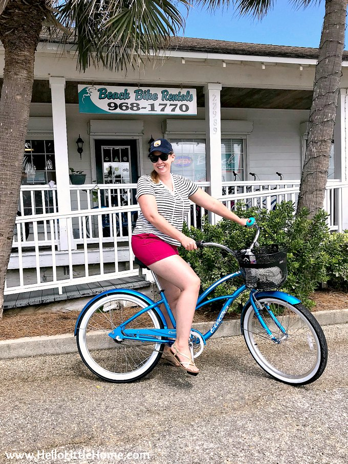 Renting a bike in Orange Beach, AL before riding the Hugh S Branyon Backcountry Trail.