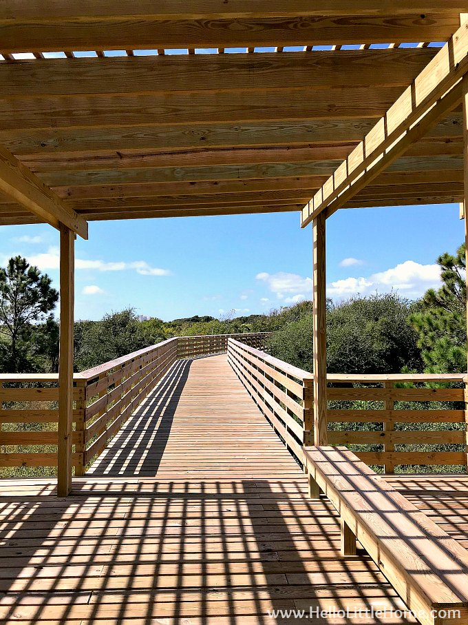 A covered stop on the Twin Bridges Trail, part of the Hugh S Branyon Backcountry Trail in Orange Beach.