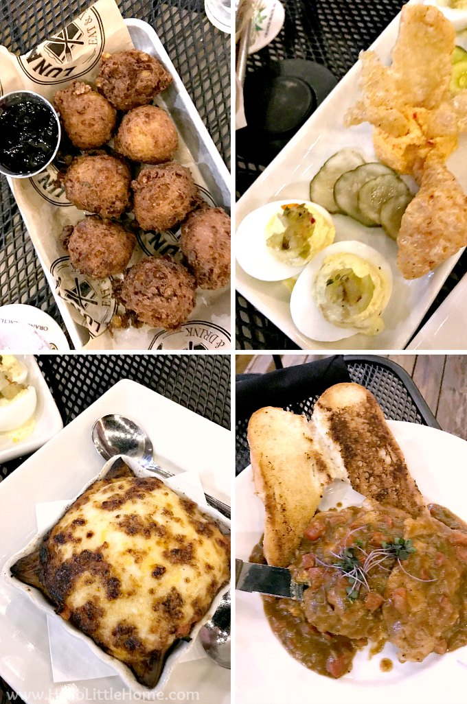Hush Puppies, Deviled Eggs, Tomato Pie, and Grillades at Luna's, an Orange Beach restaurant.