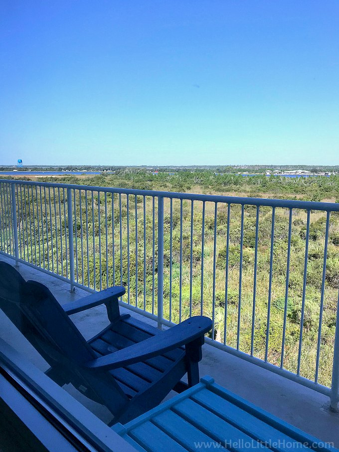 Hotel Indiogo Orange Beach balcony view overlooking the Hugh S Branyon Backcountry Trail.