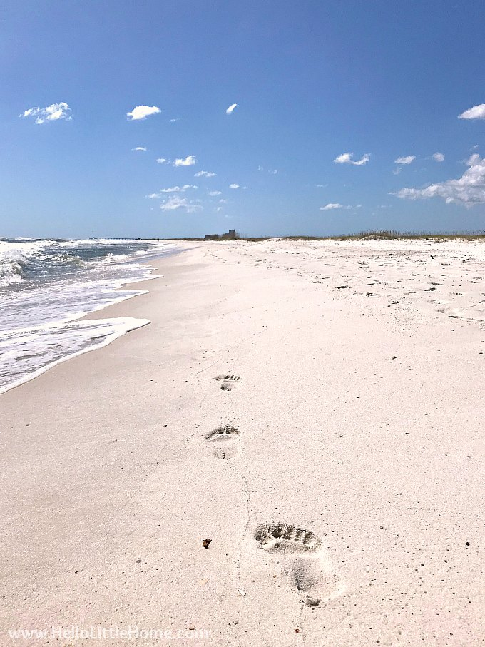 Footprints on the beach in Orange Beach, AL.