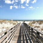 A boardwalk leading down to the beach in Gulf State Park.