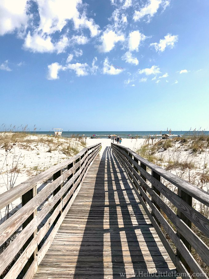 A Boardwalk Leading Down To The Beach In Gulf State Park