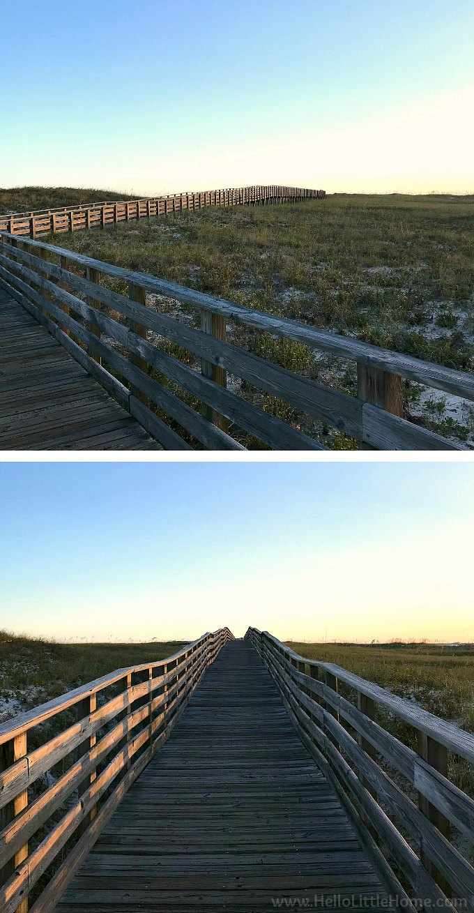 Walking the boardwalk at Gulf State Park, Florida Point, near Perdido Pass.
