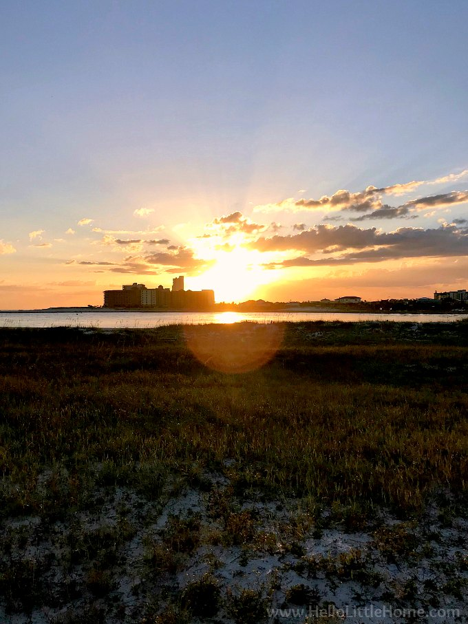 A view of the sunset over Perdido Pass from Gulf State Park in Orange Beach.