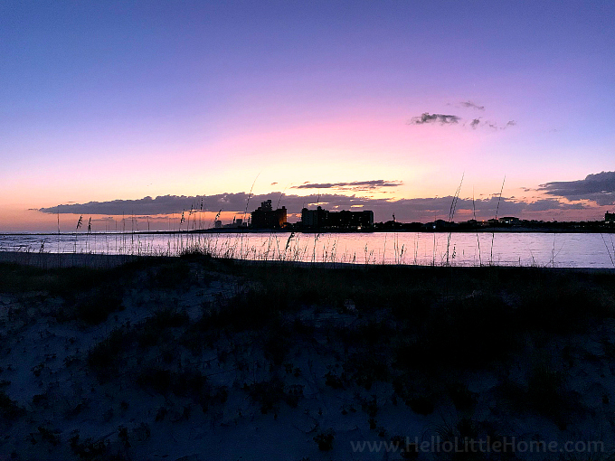 Sunset view of Perdido Pass from Gulf State Park in Orange Beach.