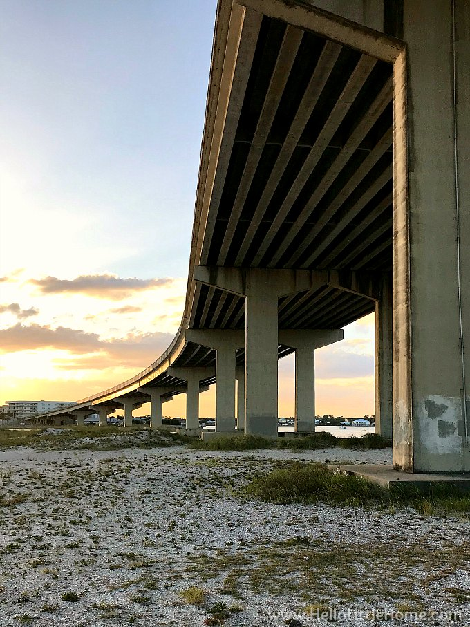 Sunset view under the Perdido Pass Bridge in Orange Beach.