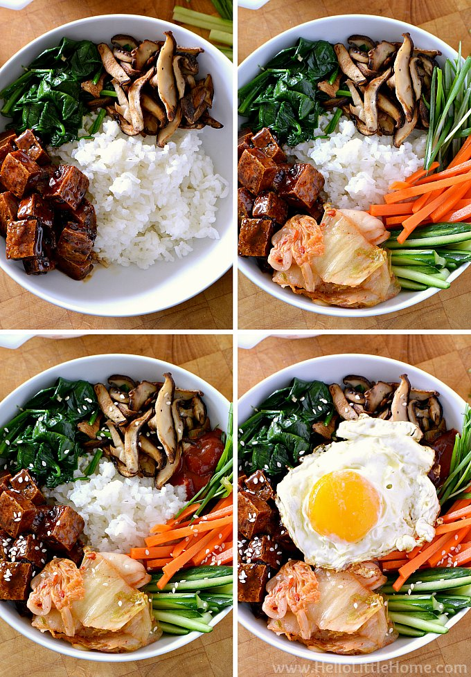 Step by step photos showing how to make a Vegetarian Bibimbap bowl.