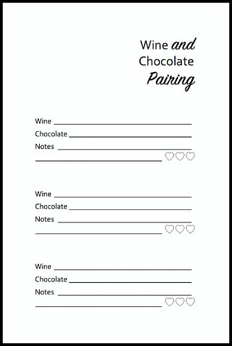 Free Printable Wine and Chocolate Tasting Card