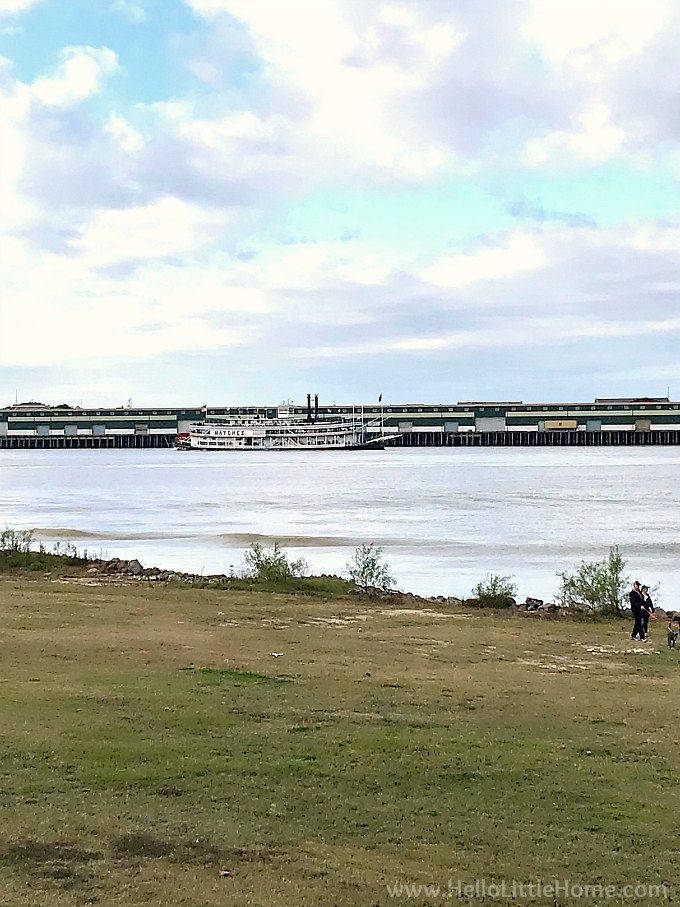 The Steamboat Natchez in the Mississippi River as seen from the Algiers Levee.