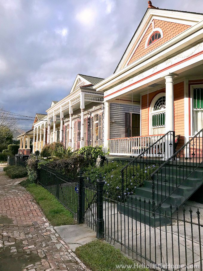 A row of homes on a street in Algiers, New Orleans.