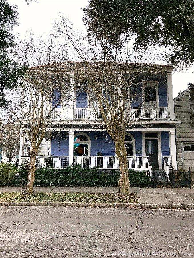 A blue house with double porches in Algiers, New Orleans.