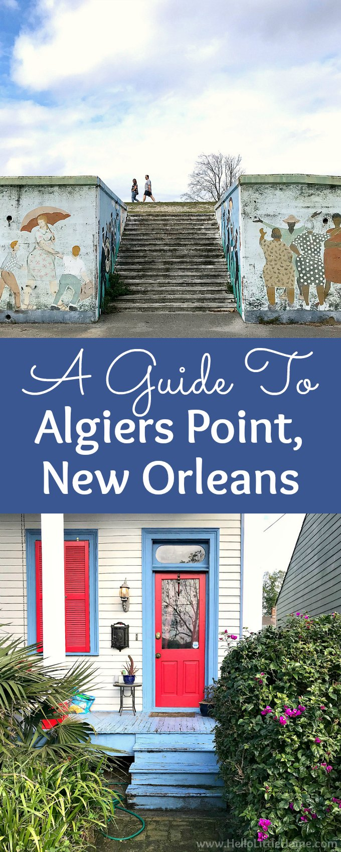 A guide to Algiers Point, New Orleans! Pretty Algiers, Louisiana is located across the Mississippi River from the French Quarter. This travel guide has all you need to know about Algiers, New Orleans, from taking the Algiers Point Ferry to things to do: walking on levee path, seeing the beautiful houses, enjoying a sunset and views of NOLA, or grabbing a bite to eat or drink! | Hello Little Home #algiers #algiersneworleans #algierspoint #onetimeinNOLA #neworleans #thingstodoinneworleans #nola