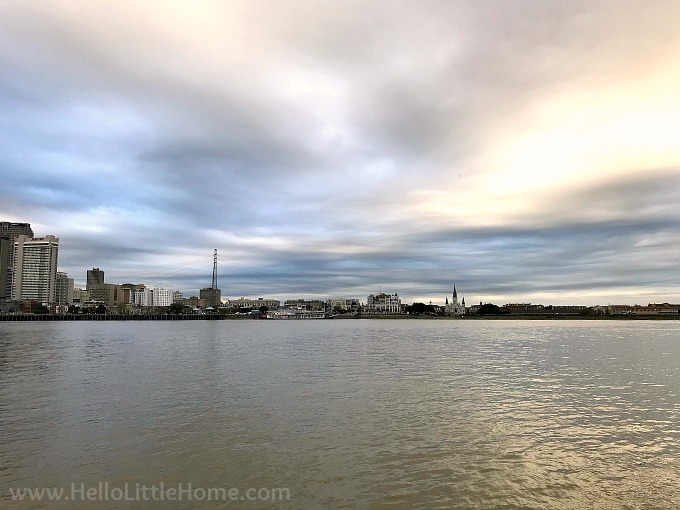 A view of New Orleans' French Quarter and the CBD from across the Mississippi River in Algiers Point.