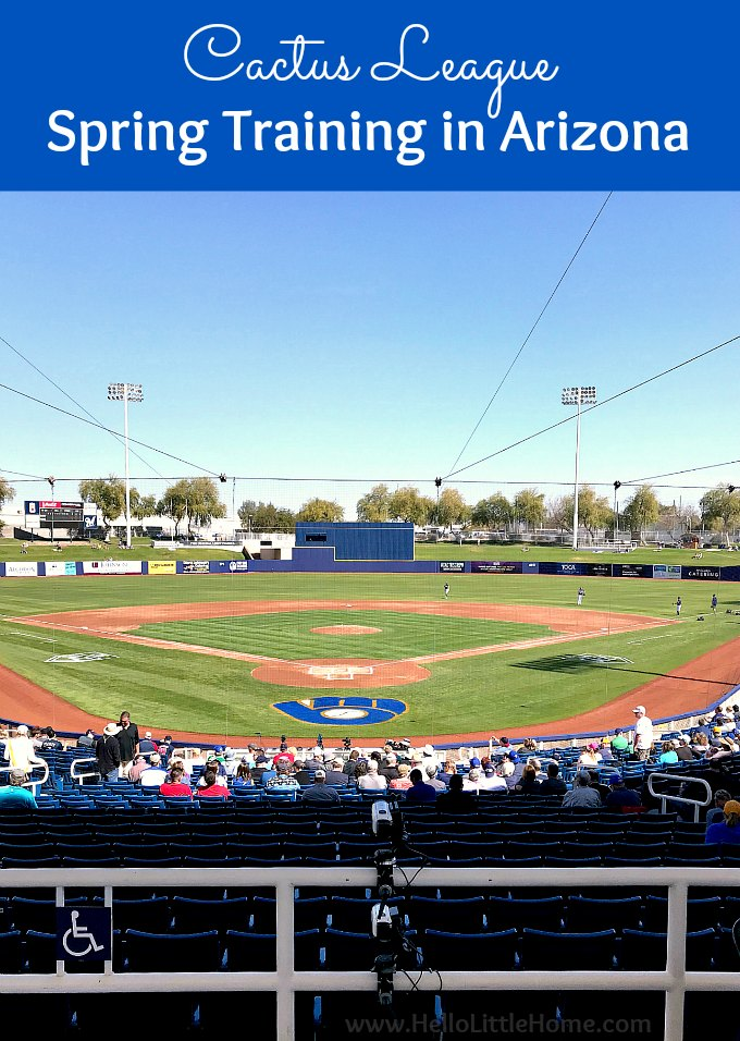 Cactus League Spring Training in Arizona! This travel guide is packed with tips for planning a family friendly vacation to see MLB spring training in Arizona. Attending a Cactus League game is the ultimate trip for baseball fans, and this guide is full of spring training travel tips to help you plan a visit… from info on Cactus League teams and stadiums to ballpark food, tickets, and more! | Hello Little Home #springtraining #mlb #baseball #cactusleague #cactuscrew #arizona #visitarizona