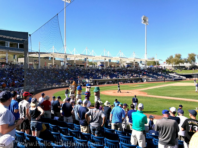 Fans watching the Sausage Race at Maryvale Baseball Park in Phoenix.