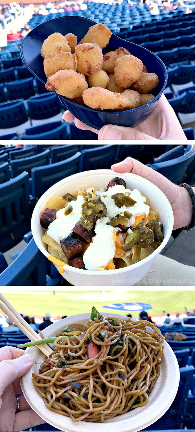 Spring training ballpark food: cheese curds, bratchos, and noodles.