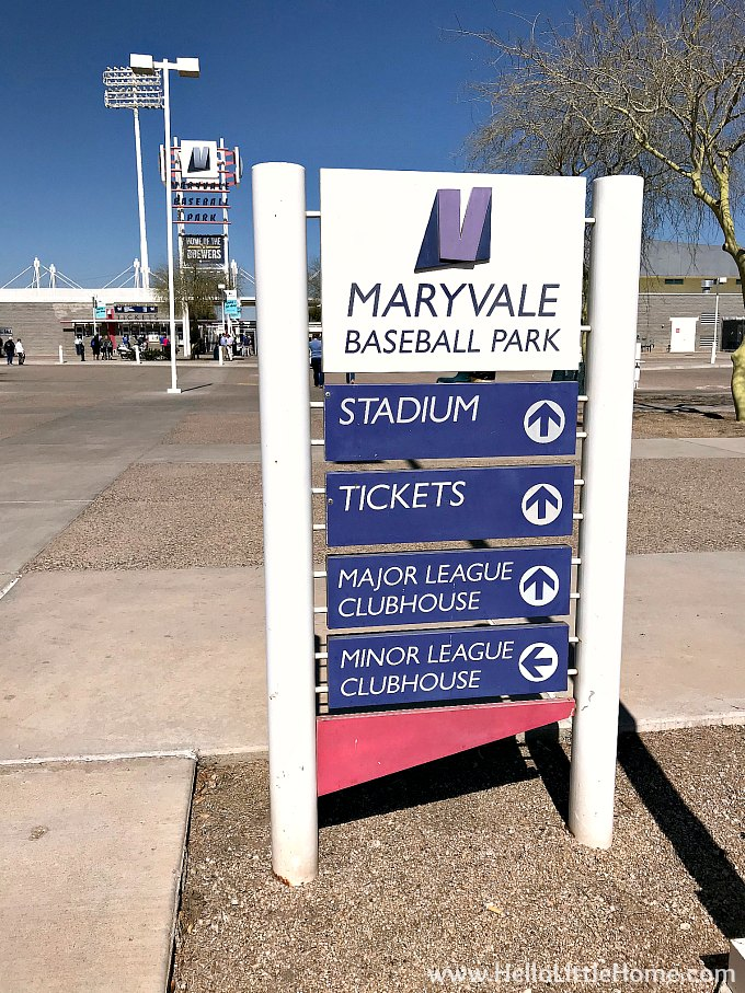 Maryvale Baseball Park sign leading up to the stadium.