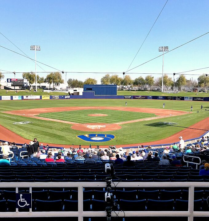 A view of a Cactus League ballpark field from the main concourse.