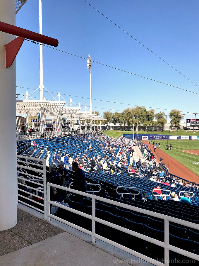 A view of the seats and stadium at Maryvalle Baseball Park, home of the Milwaukee Brewers spring training in Phoenix, Arizona.