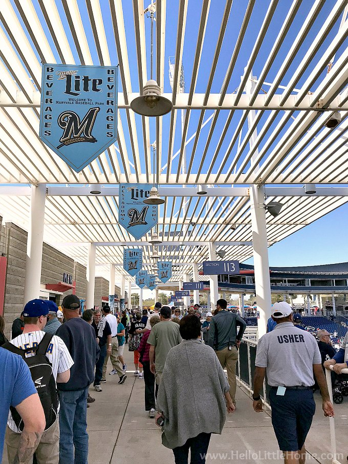 The concourse at Maryvale Baseball Park, on the Cactus League Stadiums.