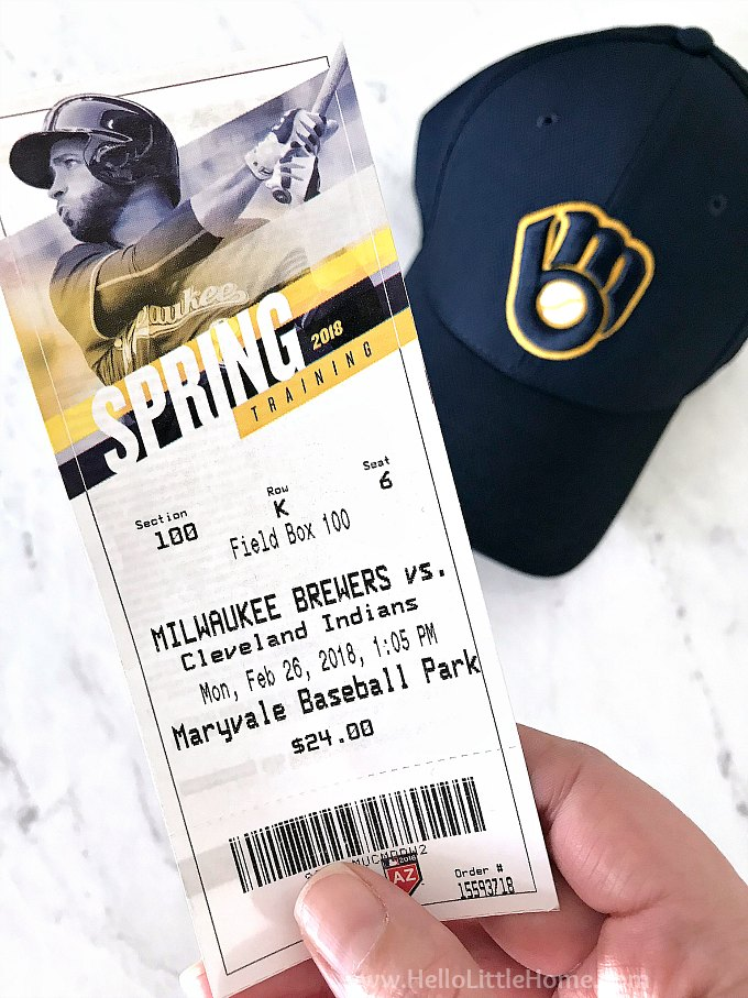 A Cactus League ticket for a Milwaukee Brewers Spring Training game in Phoenix, Arizona.