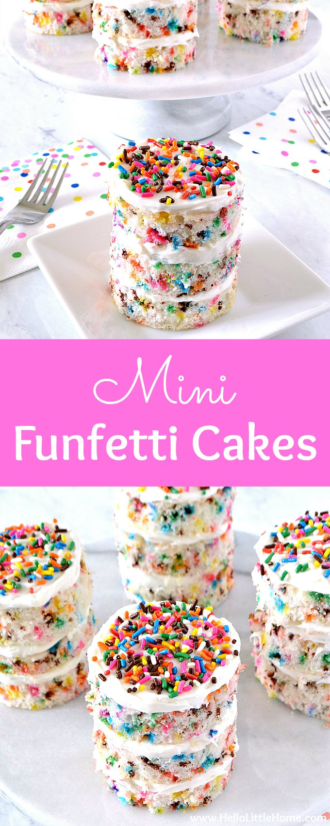 Learn how to make Mini Funfetti Cakes! These adorable individual layer cakes are covered with rainbow sprinkles. This easy Sprinkle cake tutorial breaks down all the steps for this semi-homemade Mini Cake recipe. These simple, delicious Funfetti Cakes are the perfect treat for a birthday party, shower, or any festive event! | Hello Little Home #minicake #cakedecorating #sprinkles #funfetti #funfetticake #minifunfetticake #sprinklescake #birthdaycakes #cakerecipe #birthdayparty