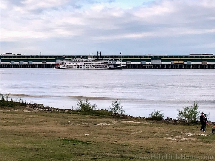 A view of the Mississippi and the Natchez Steamboat from Algiers, Louisiana.