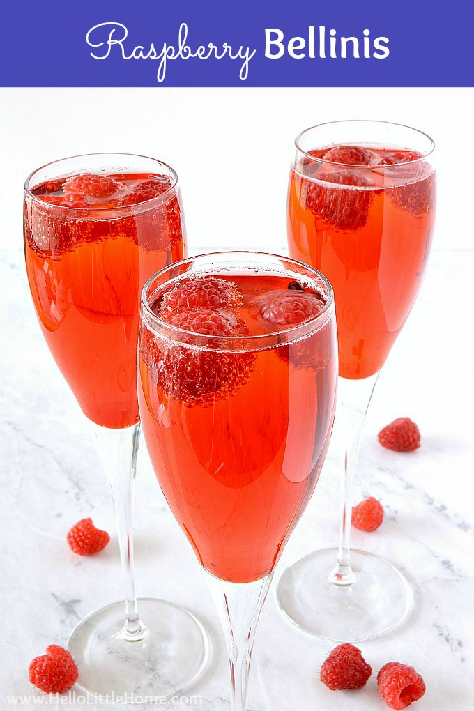 Raspberry Bellini recipe! Learn how to make a delicious raspberry cocktail! This easy Raspberry Bellini is made from 3 ingredients: raspberry syrup, champagne or sparkling wine + fresh raspberries. Serve this Raspberry Mimosa for brunch, girls night, birthday parties, New Year's Eve, Valentine's Day, and more. You won't be able to resist this easy champagne cocktail! | Hello Little Home #cocktails #cocktailrecipe #mimosa #bellini #champagne #champagnecocktail #raspberrybellini #raspberrymimosa