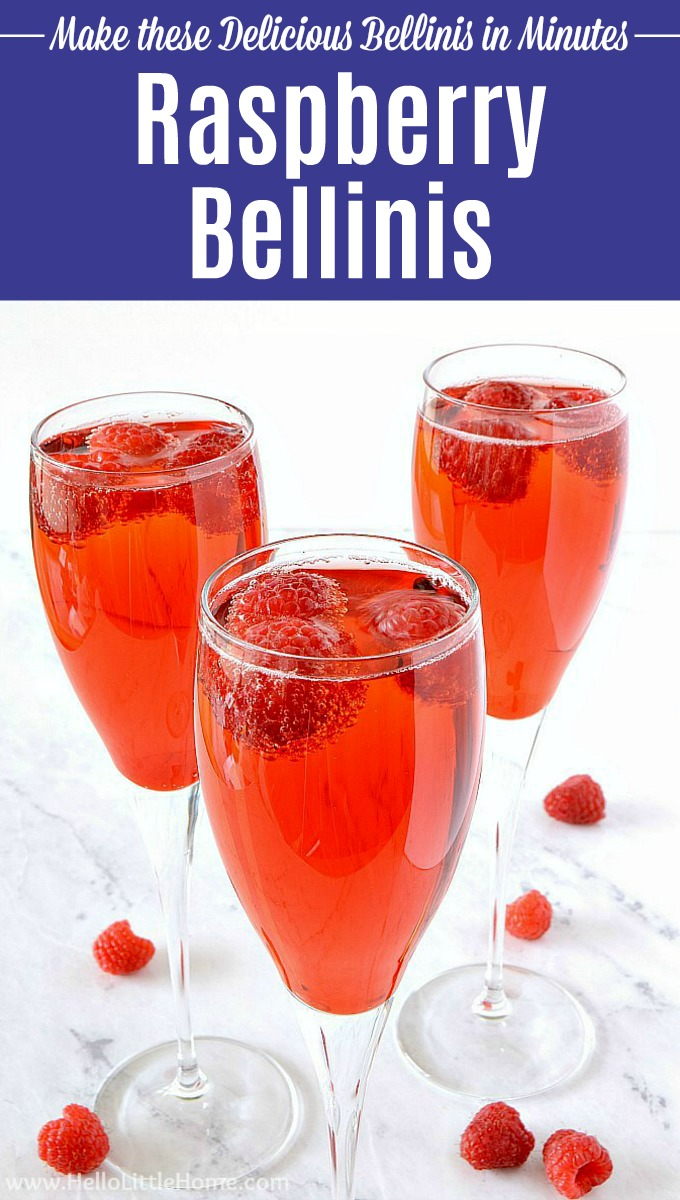 An easy raspberry bellini recipe served in champagne flutes.