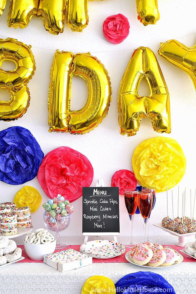 Closeup of Sprinkles Birthday Party Backdrop with Balloon Banner and DIY Tissue Paper Pom Poms.