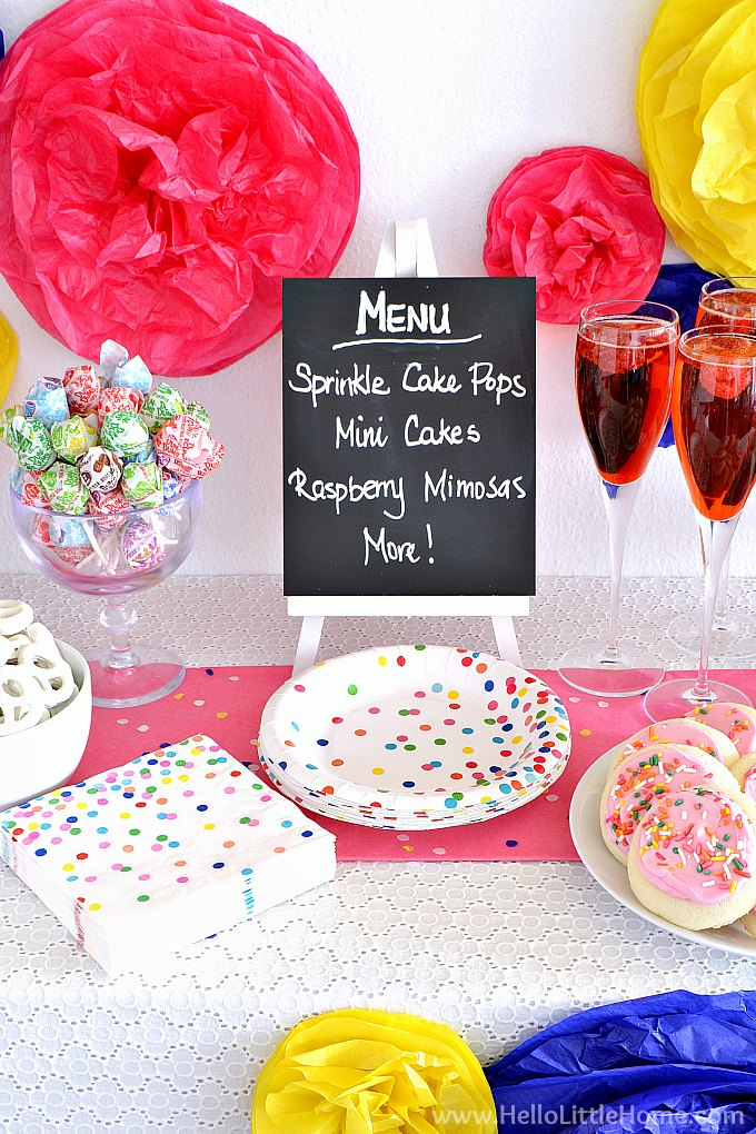 Menu Board with Sprinkles Napkins and Plates.