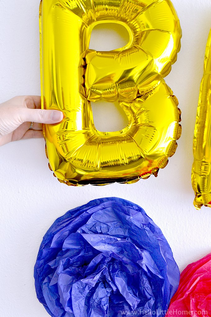 """Closeup of the letter """"B"""" from a Happy Birthday Banner"""
