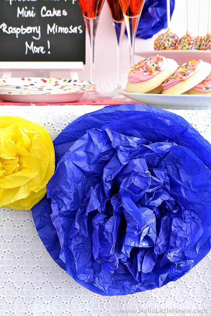 Blue and Yellow DIY Tissue Paper Pom Poms