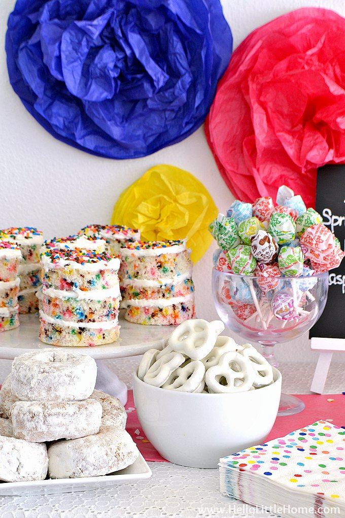 Sprinkles Birthday Party Food: Funfetti Cakes, Donuts, Pretzels, and Dum Dums.