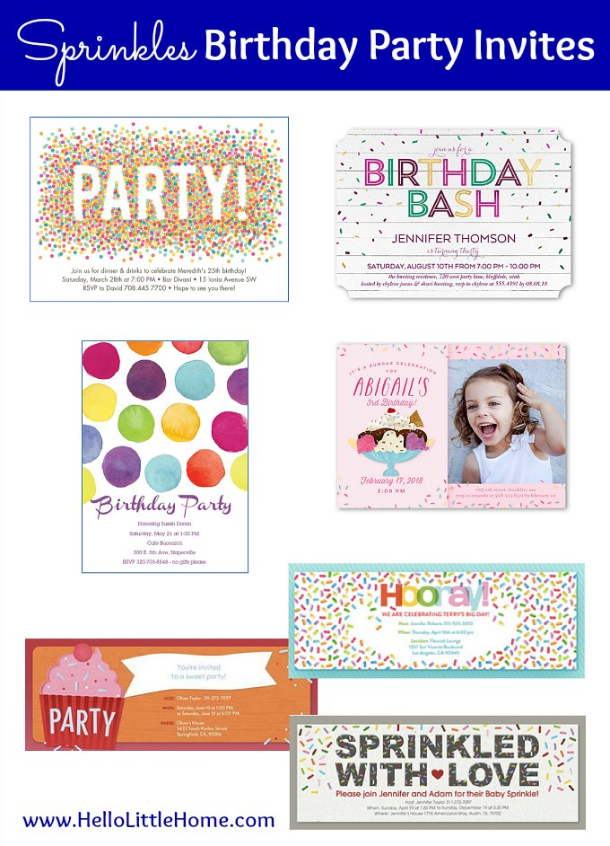 Sprinkles Birthday Party Invitations
