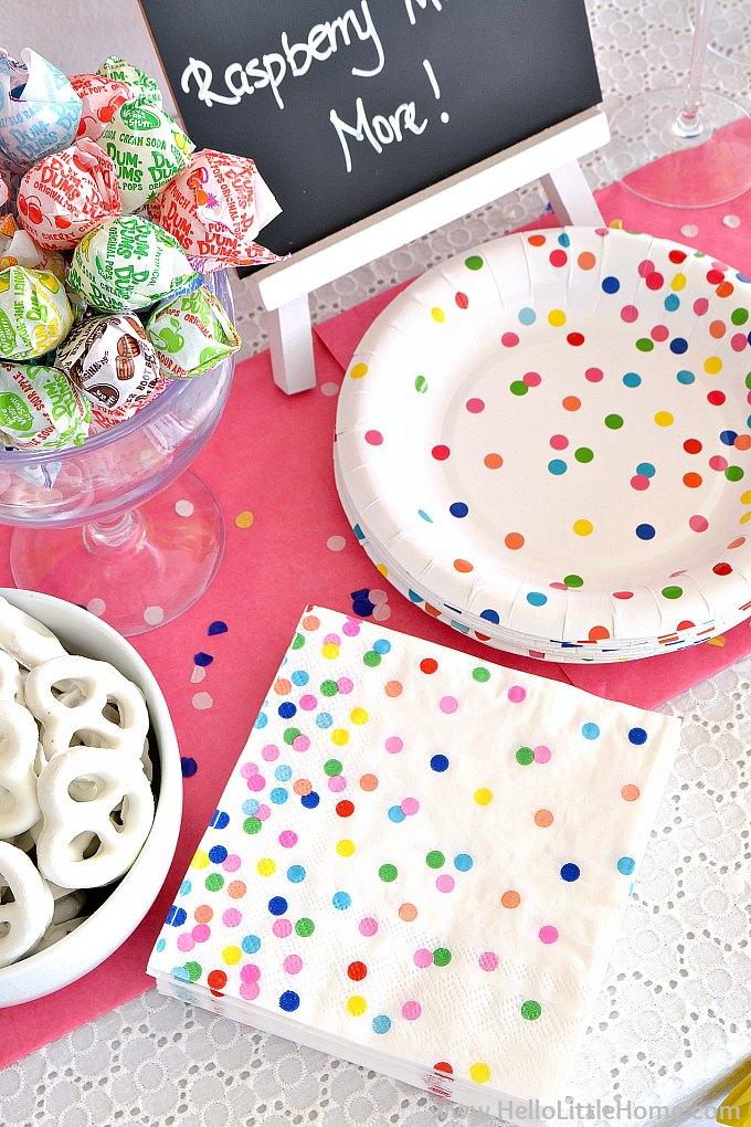 Sprinkles plates and napkins.