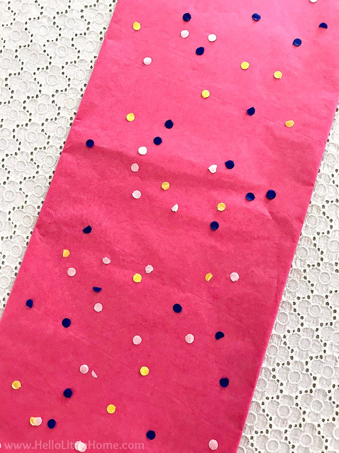 DIY Sprinkles Table Runner made from tissue paper.
