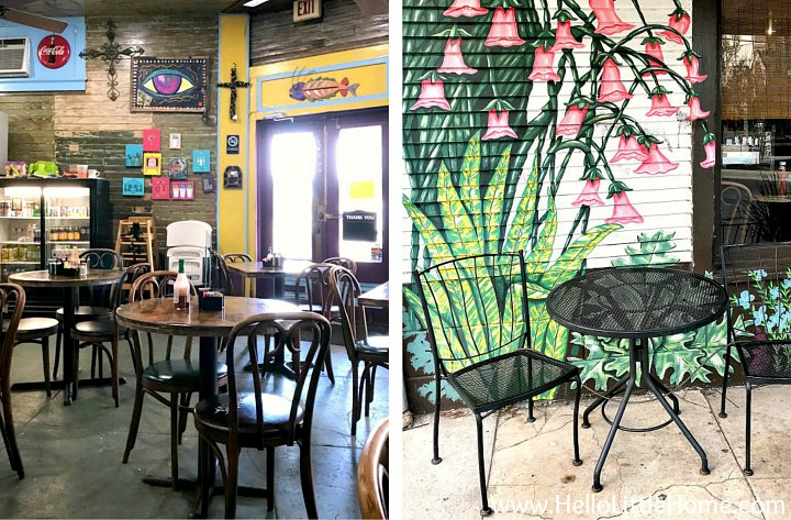 A photo collage showing the inside and outside of Tout de Suite Cafe.