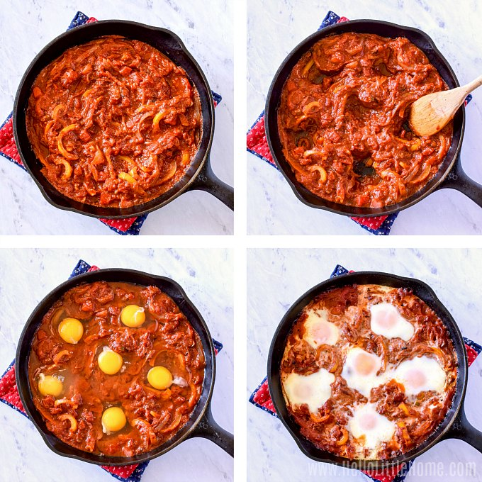 Step by step photo showing how to make Mexican Baked Eggs (Mexican Shakshuka), an easy Mexican breakfast recipe.