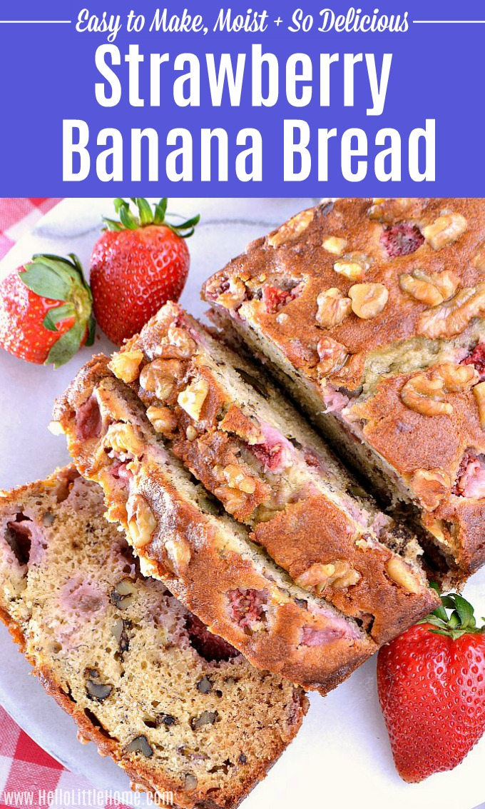 Sliced Banana Strawberry Bread on a white plate.
