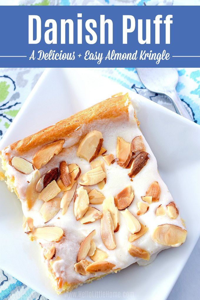 Learn how to make Danish Puff from scratch, a simple Almond Pastry recipe for breakfast, dessert, holidays + parties! This Almond Kringle recipe from Wisconsin is an easy Almond Dessert with a flaky crust, creamy inside, and sweet glaze on top. Treat your family to this homemade Danish Kringle with Almonds - they'll love this easy Almond Danish recipe! | Hello Little Home #kringlerecipe #danishkringle #almond #almondkringle #almondpastry #almonddessert #homemadekringle #dessertrecipes