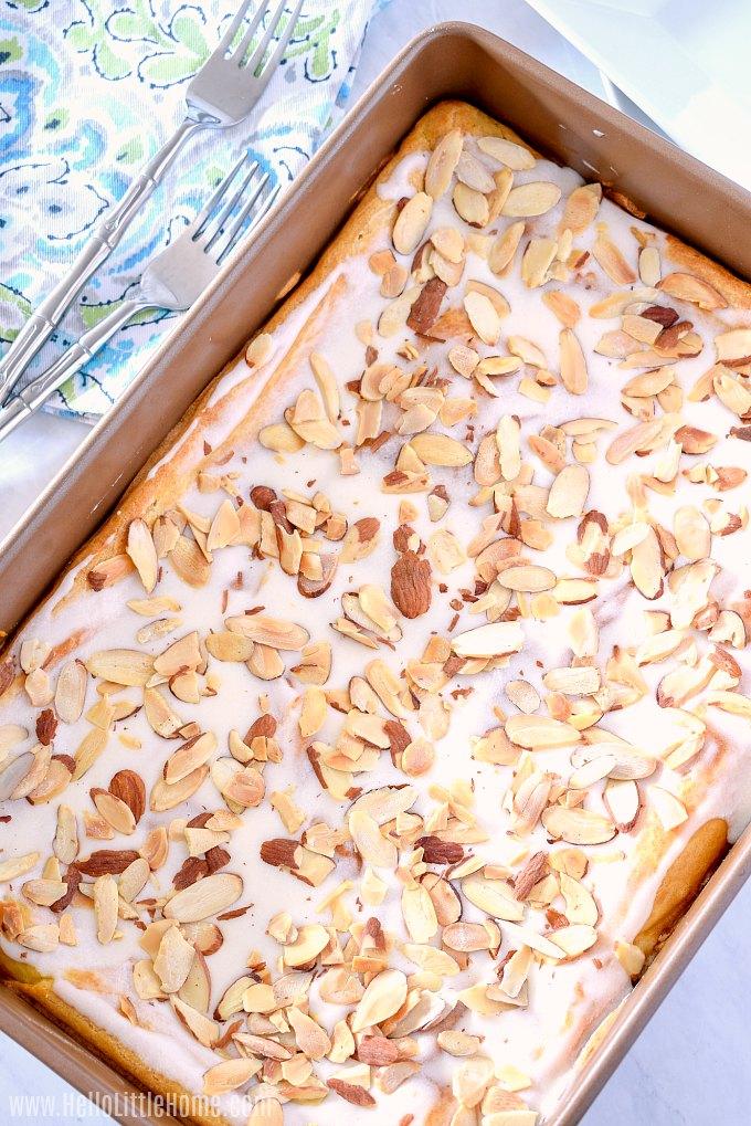 Danish Puff, a Danish Kringle with Almonds and a sweet glaze.