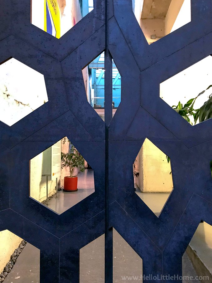 A modern gate on a building in Mexico City.