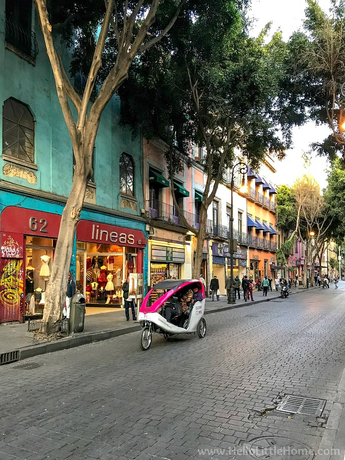 A colorful street in the historic center of Mexico City.