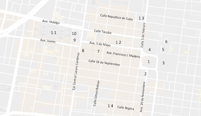 Map of the Historic Center of Mexico City