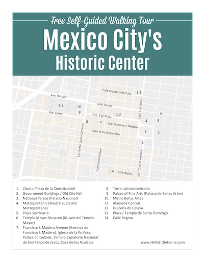 Free Printable Walking Tour Map of the Historic Center of Mexico City.