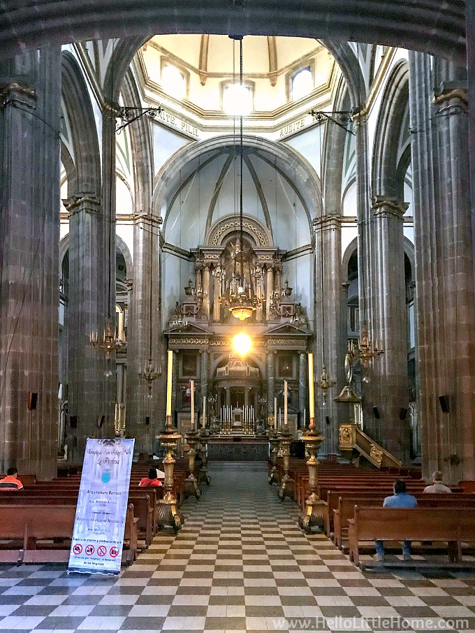 Interior of Iglesai de la Profesa in the historic center of Mexico City.