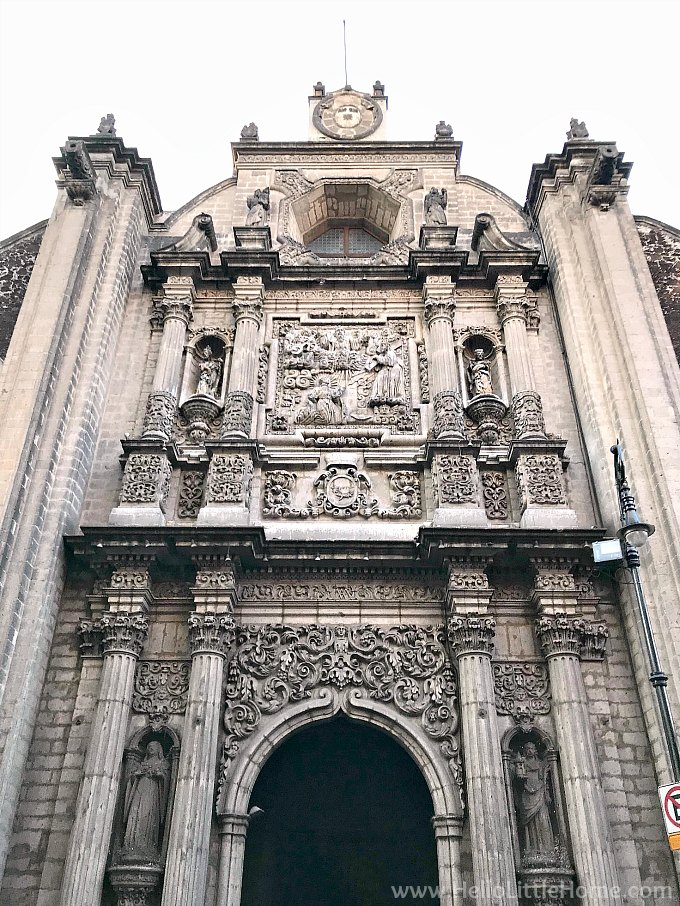 Exterior of Iglesai de la Profesa in the historic center of Mexico City.